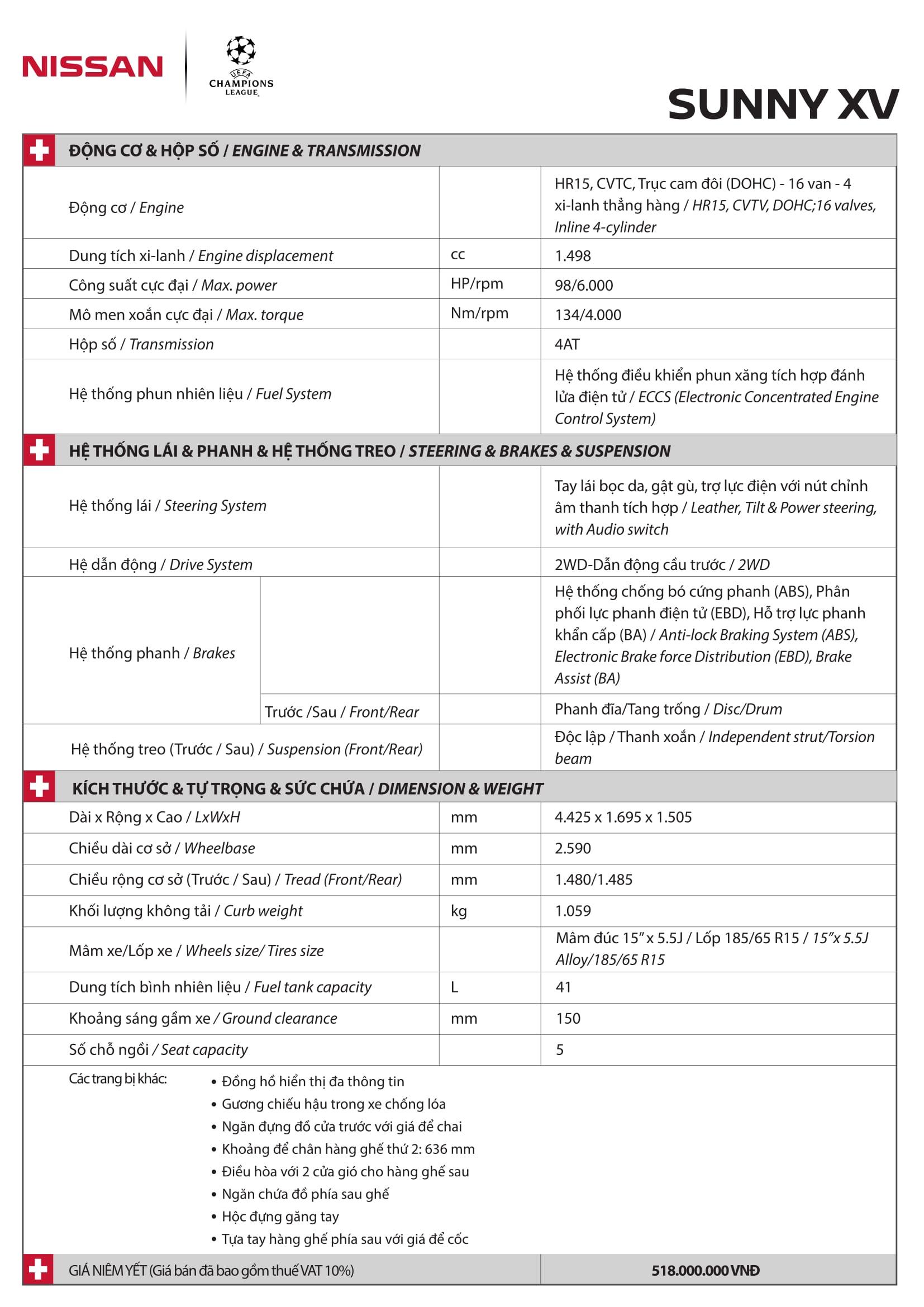 Thông số kỹ thuật xe Nissan Sunny XV