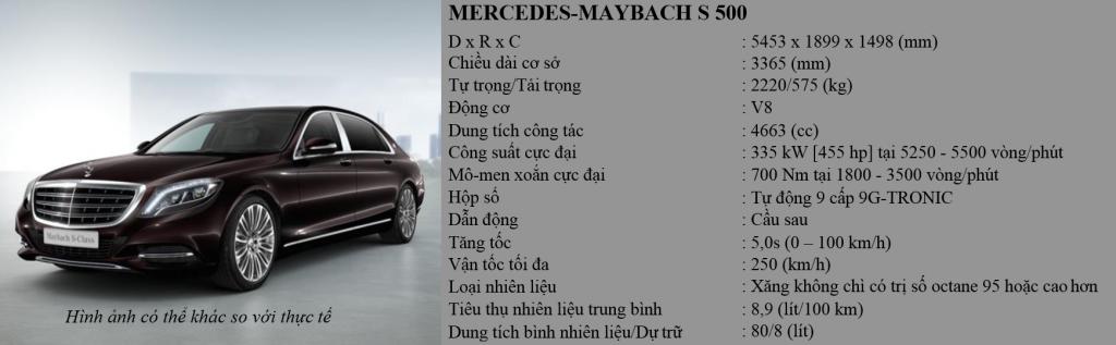 Thông số xe Mercedes Maybach S500