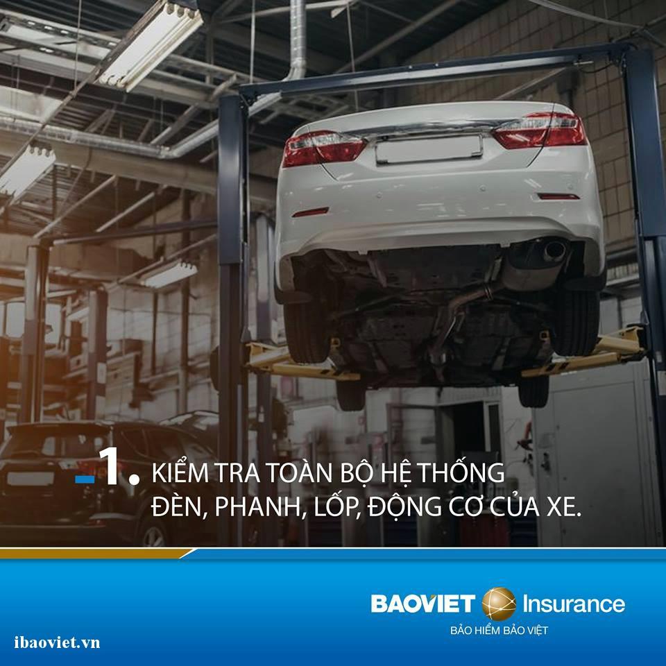 kiểm tra toàn bộ hệ thống đèn, phanh, lốp, động cơ của xe