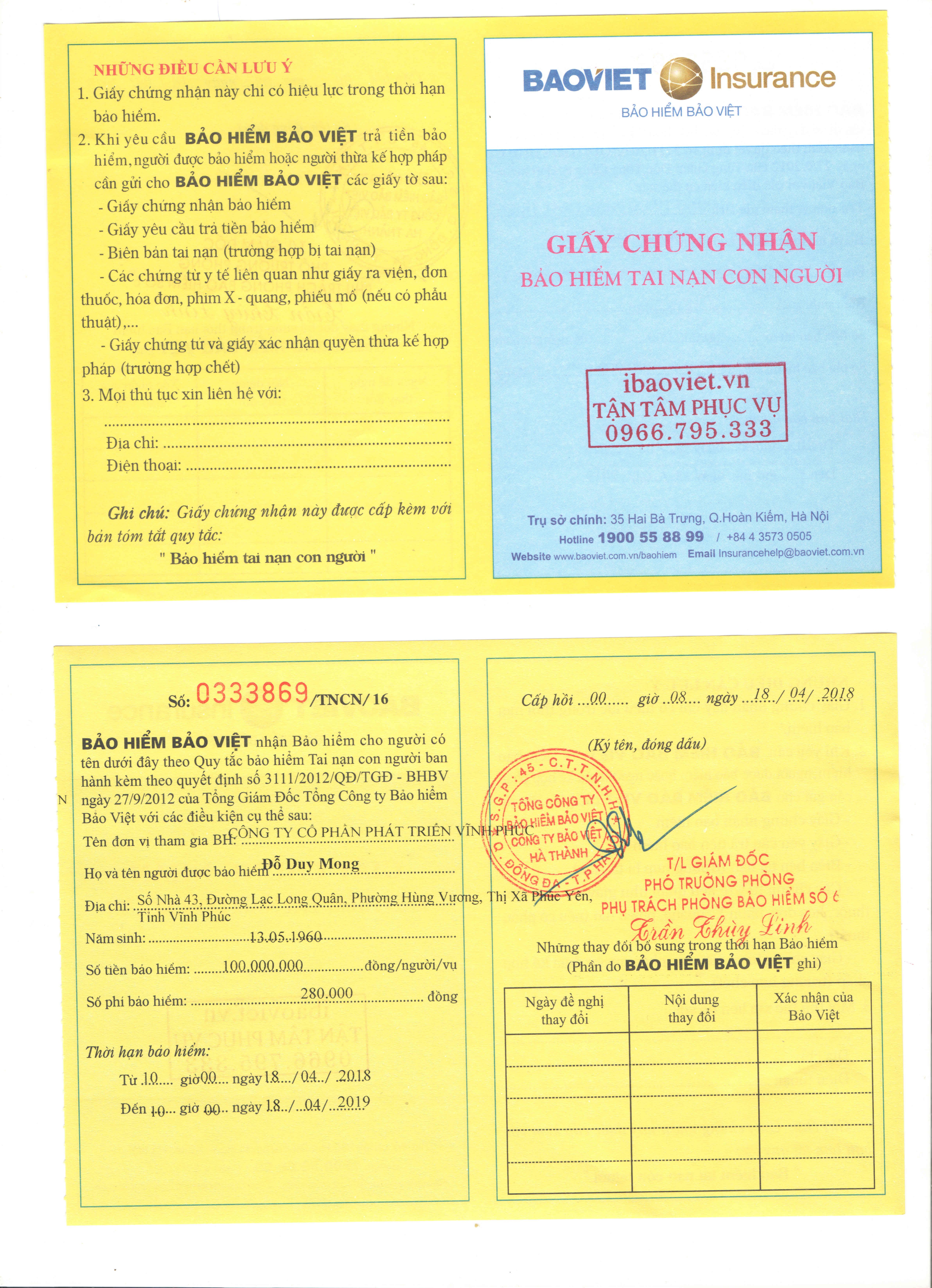 Mẫu giấy chứng nhận bảo hiểm tai nạn